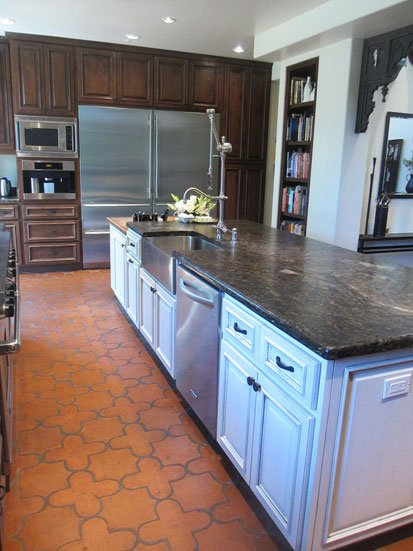 remodeled kitchen with huge stainless steel fridge