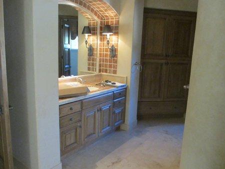 kitchen with brick accent