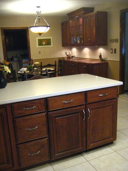 refaced and refinished kitchen