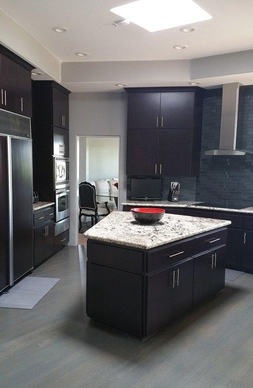dark burgundy contemporary Scottsdale kitchen reface