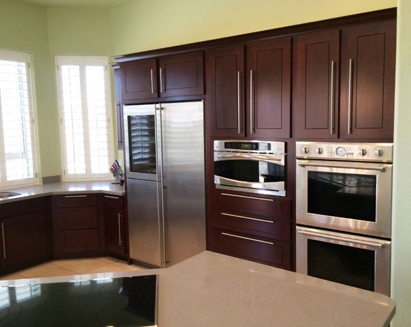 refaced kitchen cabinets with new appliances