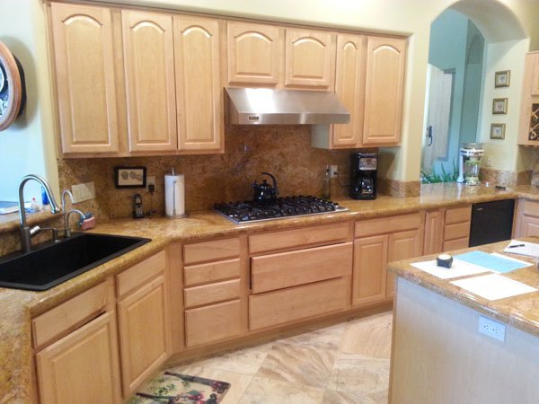simple wooden kitchen cabinets before refacing project