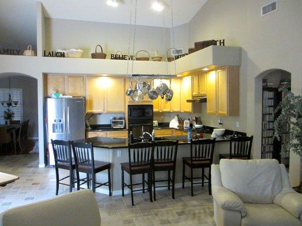 spacious open monochrome kitchen