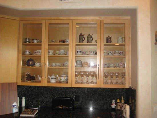 light wood kitchen display case