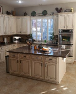 Scottsdale Kitchen Reface Antique White Cabinets with a Chocolate Brown Glaze
