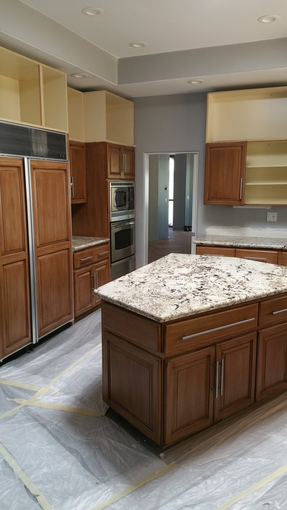 modern home before kitchen reface and new stacked upper cabinets