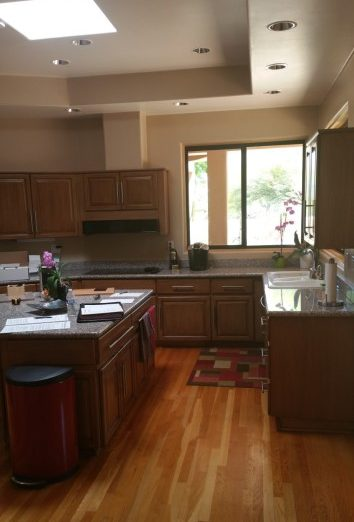 Modern Kitchen BEFORE Kitchen Reface with Custom Stacked Upper Cabinets