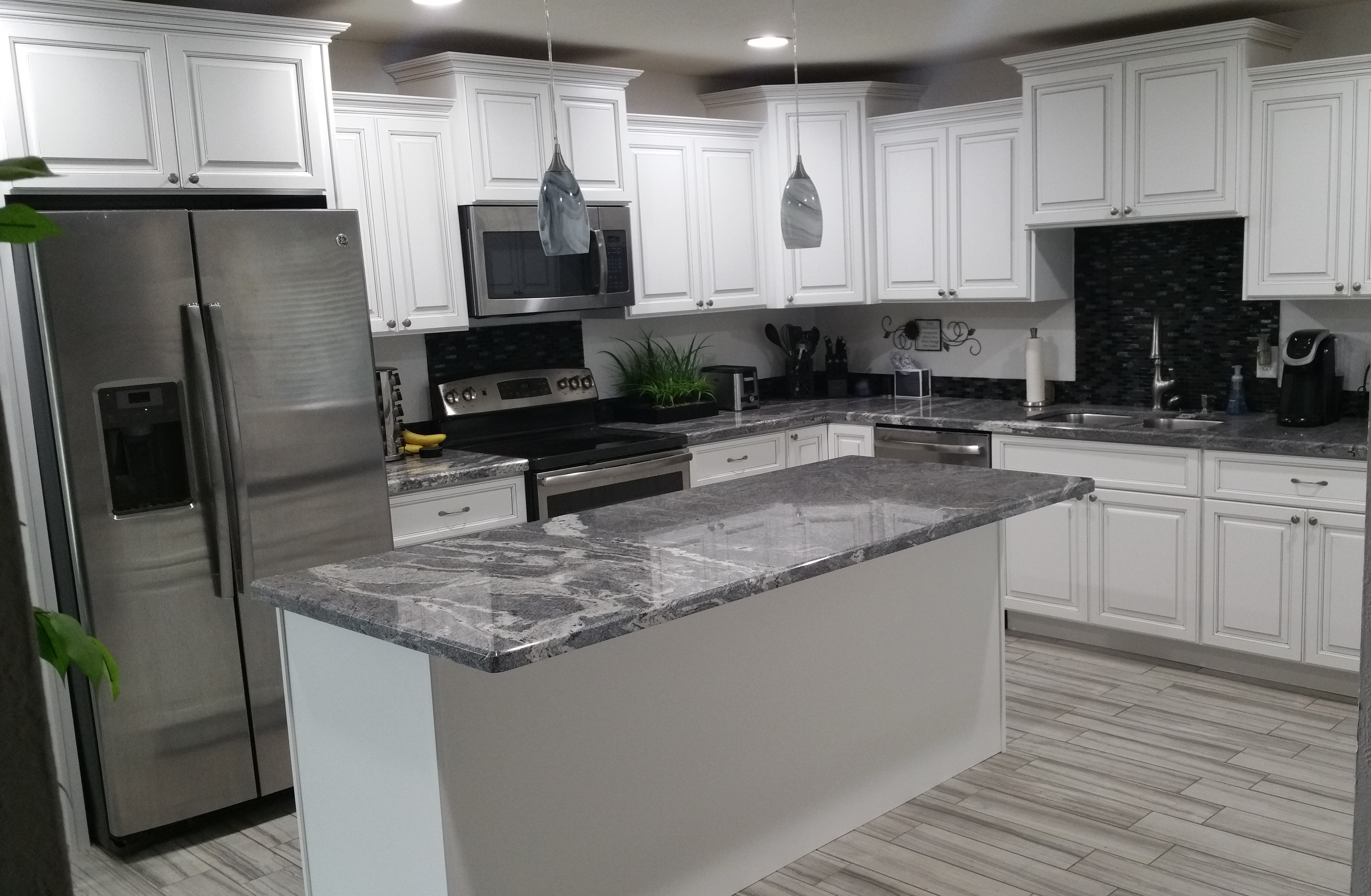 Antique White Gray Modern Kitchen Reface Scottsdale